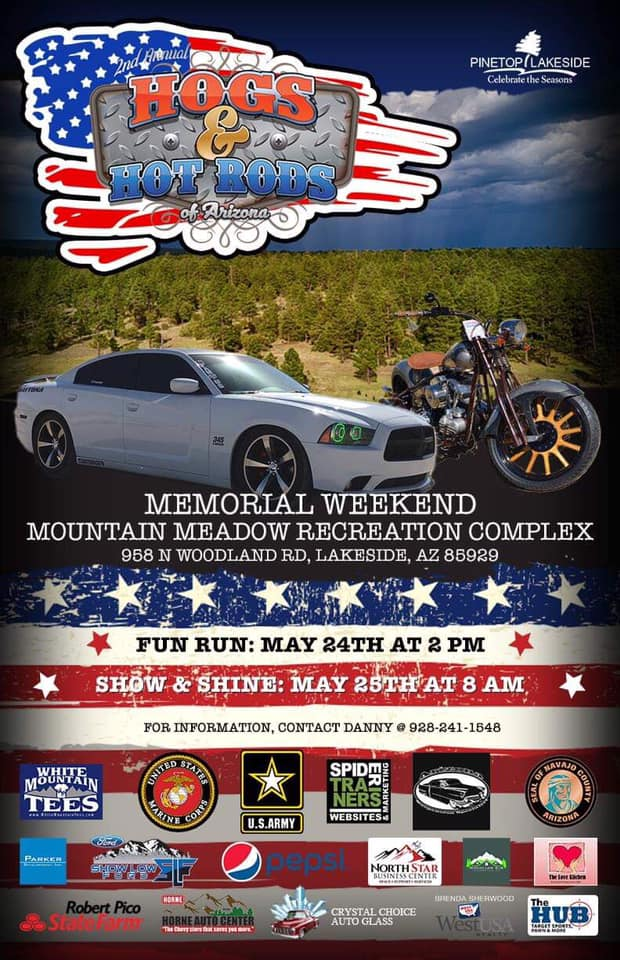 Hogs and Hot Rods Flyer with car and motorcycle