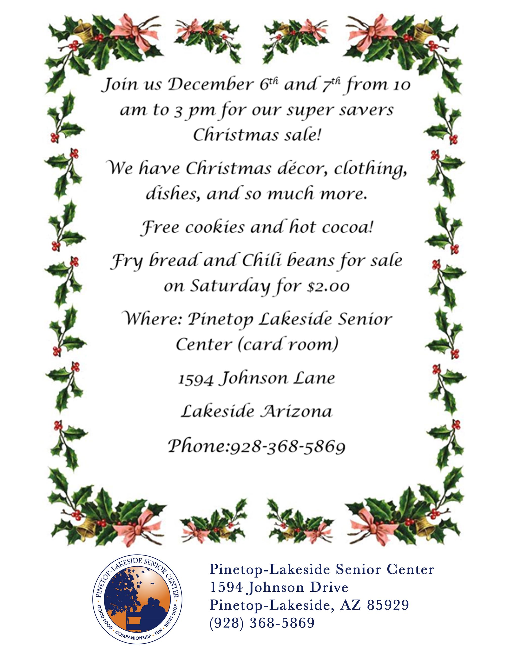 Senior Center Cmas Sale